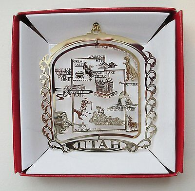 Utah Ornament State Landmarks Christmas Brass Souvenir Travel Gift