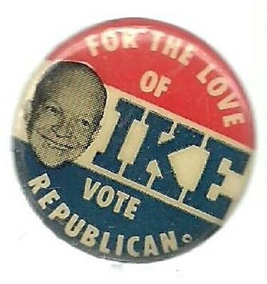 Eisenhower For The Love Of Ike Vote Republican Political Pin