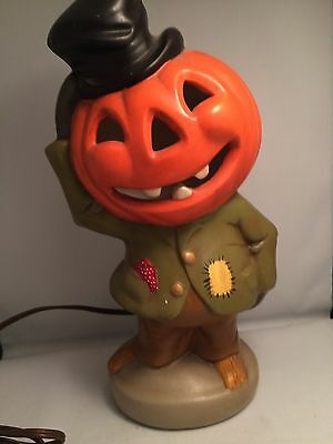 Vintage Halloween Pumpkin Head electric Lamp Nightlight jackolantern hand done