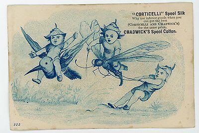 Elfish imps riding large dragonfly Corticelli Victorian Advertising trade card