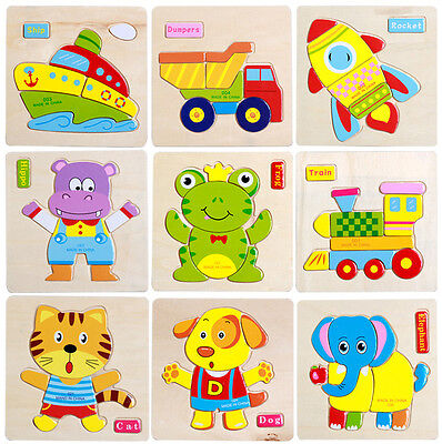 Wooden Animal Puzzle Jigsaw Early Learning Children Baby Kids Educational Toys
