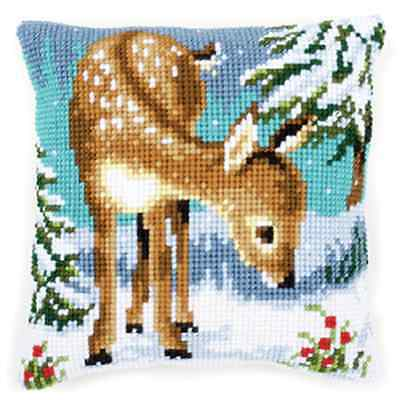 Deer/Christmas Large Holed Printed Tapestry Canvas Cushion Kit - Cross Stitch