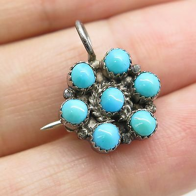 Old Pawn 925 Sterling Silver Natural Turquoise Gemstone  Small Pin Brooch