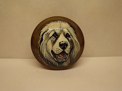 Mini round box. High quality. Hand-painted Great Pyrenees