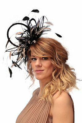 Black & Baby Pink  Fascinator hat/choose any colour satin/ feathers