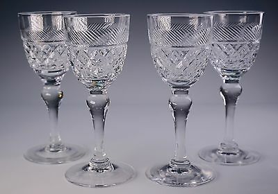 """Antique Set of Four Thomas Webb & Sons Crystal Glasses Glass """"Heirloom"""" Cordials"""