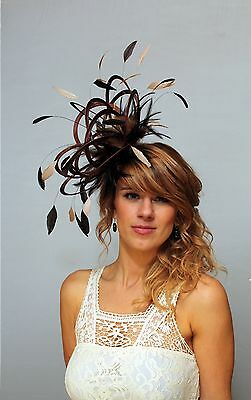 Brown & Taupe Nude Fascinator hat/choose any colour satin/ feathers
