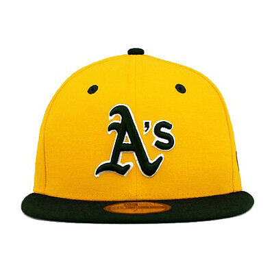 huge selection of deb43 cd6a6 New Era 59fifty Oakland Athletics Team Flip Yellow Green Fitted 5950 Hat Cap