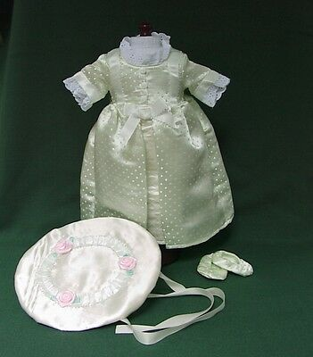 "American Girl 18"" Retired FELICITY ELIZABETH GREEN SATIN SUMMER GOWN + HAT REPRO"