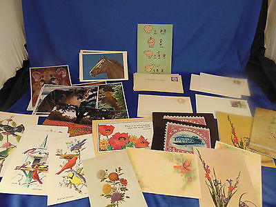 59 vtg Post Cards all blank Animals Flowers Birds Butterfly 3 cents 9 cents art