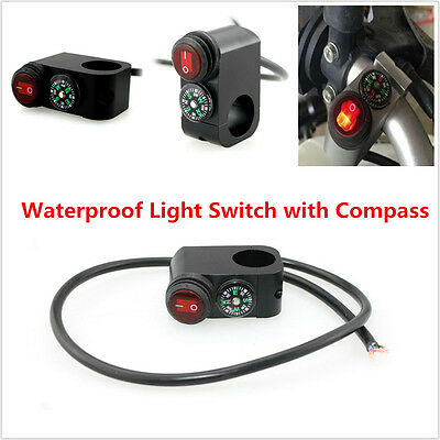 ATV Motorcycle 12V LED Handlebar Headlight Fog light On Off Switch With Compass