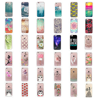 Silicone Transparent Pattern Soft TPU Back Case Cover For iPhone 6s Plus 5s SE