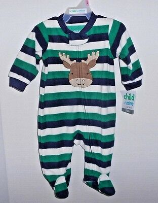 Boys Size 0-3m Baby Footed Sleeper Holiday Green Blue White Striped Carter's NWT