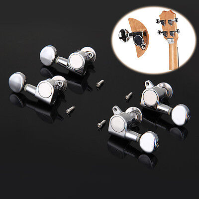 New Silver Sealed Tuners Tuning Pegs Machine Heads 2R2L For Ukulele