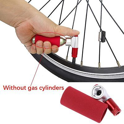 Durable Bike Bicycle Cycling Tire Air CO2 Inflator Head Pump Valve&Insulated Red