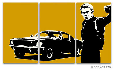 BULLITT STEVE MC QUEEN POP ART BILD LEINWAND 175x100cm RETRO LOUNGE XXL (no DVD)
