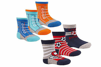 New baby boys cotton rich 3 pack socks 0-24 months trainer football designs