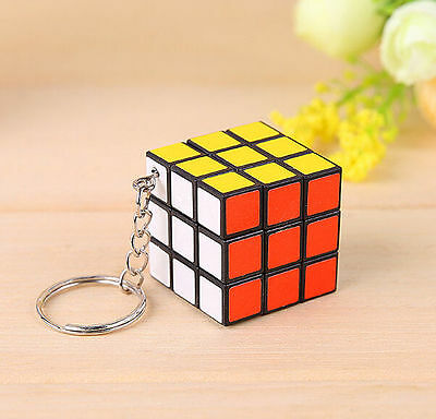 Mini 3x3x3 3x3 Magic Cube Key Chain Puzzle Speed Toy Ornaments Gift 1pc ^