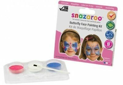 New Snazaroo Butterfly  Face Painting Paints & Brush Kit Pink Blue White