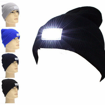 Cool 5-LED Light Cap Beanie Hat With 2 Batteries For Hunting Camping Run Fishing