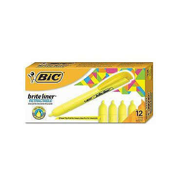 12 Pack Bic Brite Liner Retractable Highlighter Chisel Tip Fluorescent Yellow
