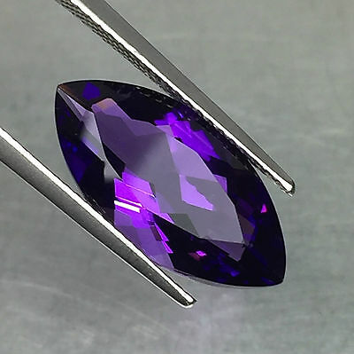 LARGE 18x9mm MARQUISE-FACET STRONG-PURPLE NATURAL BRAZILIAN AMETHYST GEMSTONE