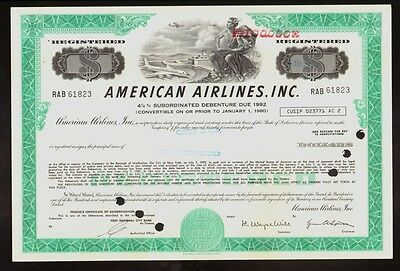 AA : AMERICAN AIRLINES USD 100,000 old bond certificate