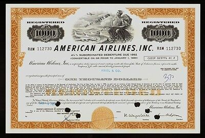 AA : AMERICAN AIRLINES USD 1,000 old bond certificate iss to  Asiel & Co