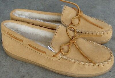 Minnetonka Suede Pile Lined Moccasins - Tan - Mens 10 - Wide
