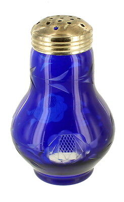 Antique Cobalt Blue Elegant Glass Sugar Sifter Shaker Etched Flower Decoration