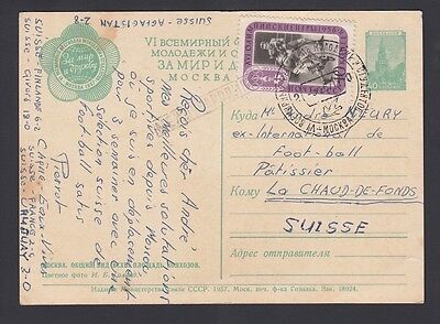 Russia Ussr 1956 Special Cancel On Boxing Issue On Uprated Ps Card Moscow
