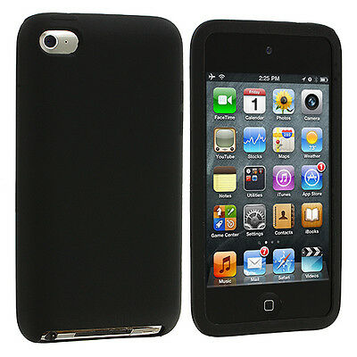 Black Silicone Rubber Skin Cover Case for iPod Touch 4th Generation 4G 4