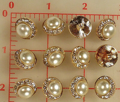 """12 vintage med gold metal rhinestone buttons glass pearl center 5/8"""" 16mm #138"""