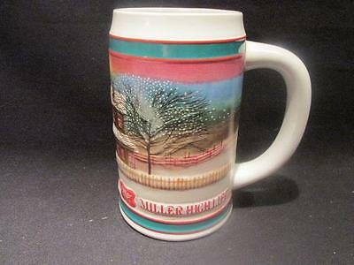 Miller High Life Couple & Horsedrawn Cutter in Winter Beer Mug Holiday Tradition