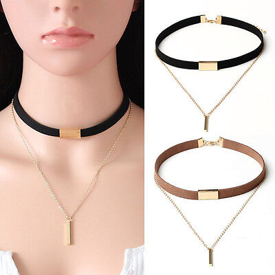 New Black Velvet Choker Collar Necklace Chain Of Gold Bar Charm Pendant Jewelry