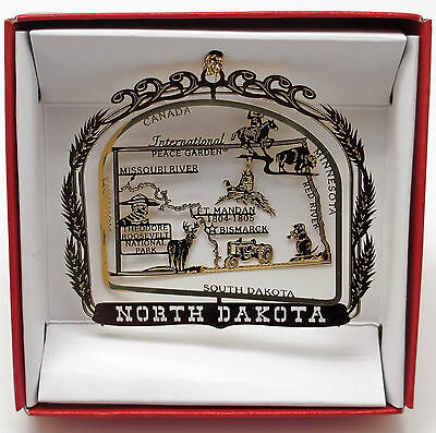 North Dakota State Brass Ornament Travel Souvenir Gift