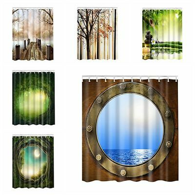 "71x71""Waterproof Bathroom Shower Curtain Set With Hooks Fabric 3D Printed Design"