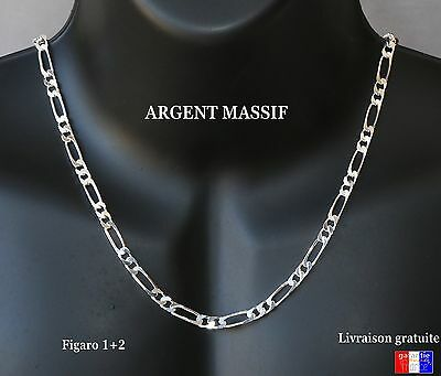 collier homme Chaine Argent Massif Grosse De 5mm Maille large Figaro 1+2 neuve