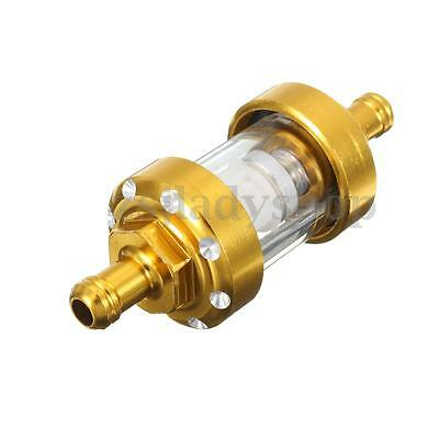 1/4'' 6mm Gold Glass Oil Cleaner Inline Fuel Filter For Motorcycle ATV Dirt Bike