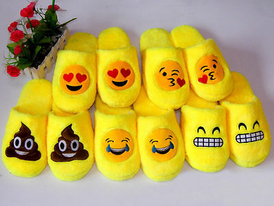 Winter Womens Mens Slip On Emoji Shoes Warm Soft Indoor Home Winter Slippers TY