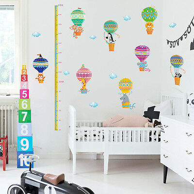 Boy Girl Bedroom Removable Wall Stickers Height Tall Hot Air Balloon Wallpaper