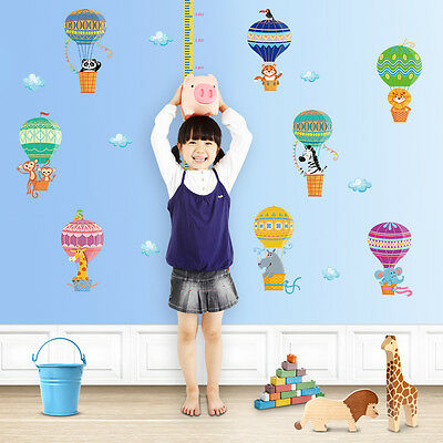 Bedroom Removable Wall Stickers Children Height Tall Hot Air Balloon Wallpaper