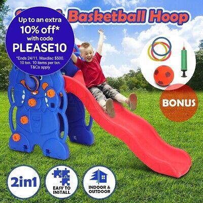 2 in 1 Kids Slide Toddle Play Toy Activity Center Outdoor Basketball Hoop Set