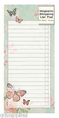 Magnetic Shopping List Note Pad Butterfly & Rose Design Lined Paper 80 Page GILP