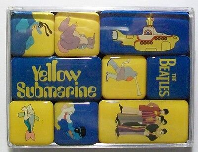 THE BEATLES YELLOW SUBMARINE Set of 9 Mini Fridge Magnets In Clear Plastic Box