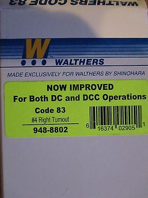 Walthers 948-8802 HO Code 83 Nickel Silver DCC Friendly #4 Turnout -- Right Hand