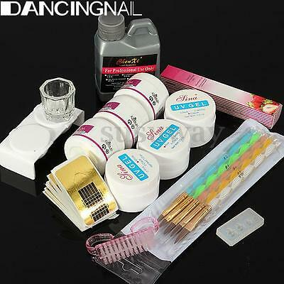 Full Acrylic Liquid Powder UV Gel Glue Guides Dappen Nail Art Tips Tools Kit Set