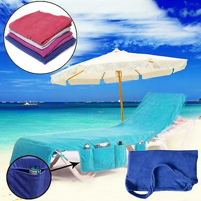 Sun Lounger Mate Beach Towel Carry With Pockets Bag Holiday Garden Lounge US