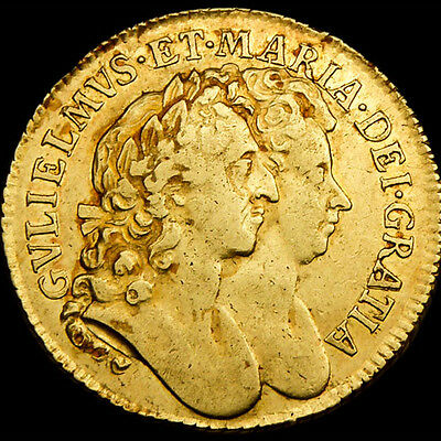 KING WILLIAM & MARY 1689 GOLD GUINEA RARE COIN...in Near Extra Fine Condition..