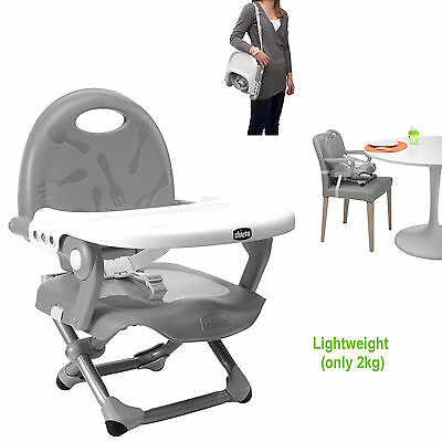 New Chicco Silver Pocket Snack Portable Baby Booster Seat Adjustable Highchair